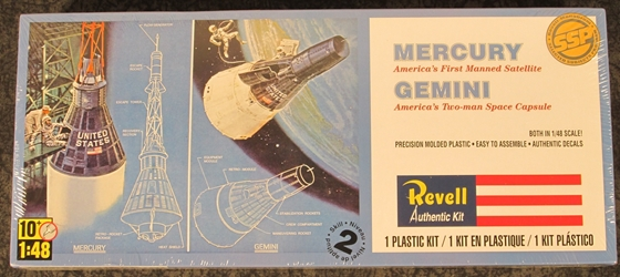 NASA 1:48 scale Mercury and Gemini Space Capsules