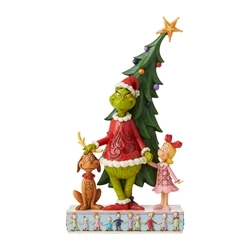 Jim Shore Grinch, Max and Cindy Standing in front of Tree Figure